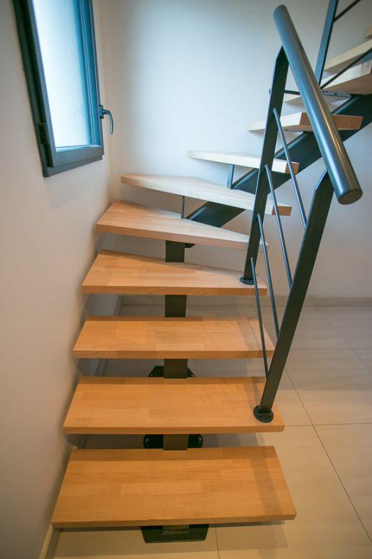 Escalier 1 4 Tournant Limon Central Metal A Capbreton 40