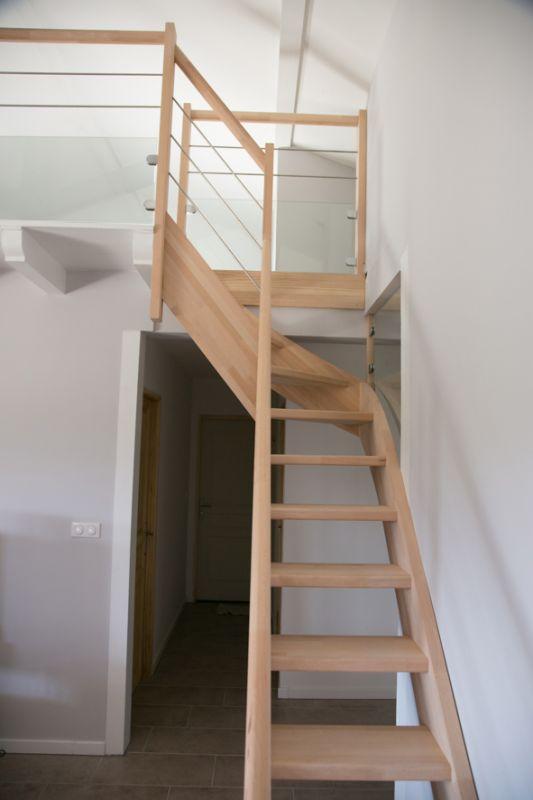 escalier bois quart tournant inox hasparren 64 conception d 39 escaliers sur mesure en pays. Black Bedroom Furniture Sets. Home Design Ideas