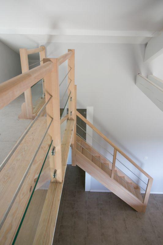 Escalier bois quart tournant inox hasparren 64 vente - Hauteur rampe d escalier ...